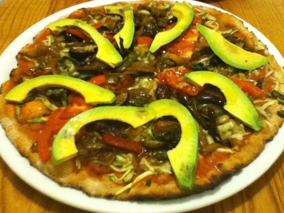Vegan pizza with avocado at Avocado Restaurant in Athens, Greece