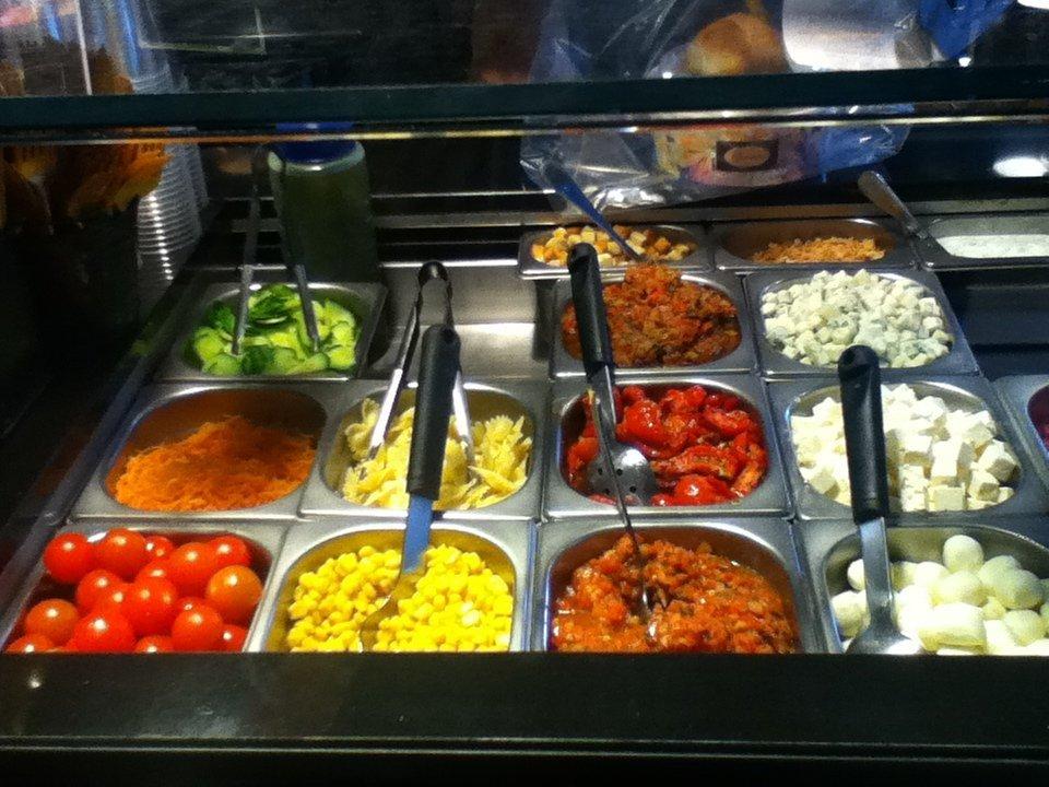 Salad bar at Yvonne bakery, Rouen - vegan in Normandy
