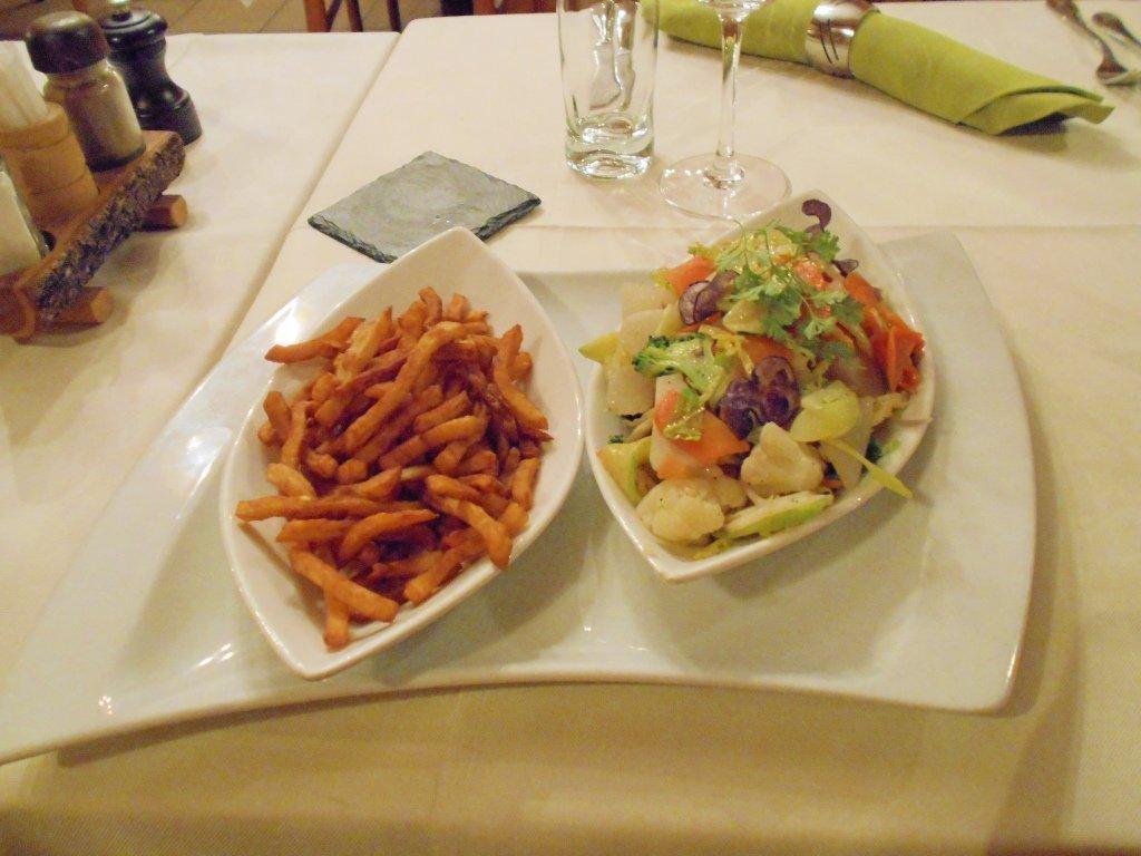 Vegan dinner of sautéed vegetables at Le Refuge, Evolène, Switzerland