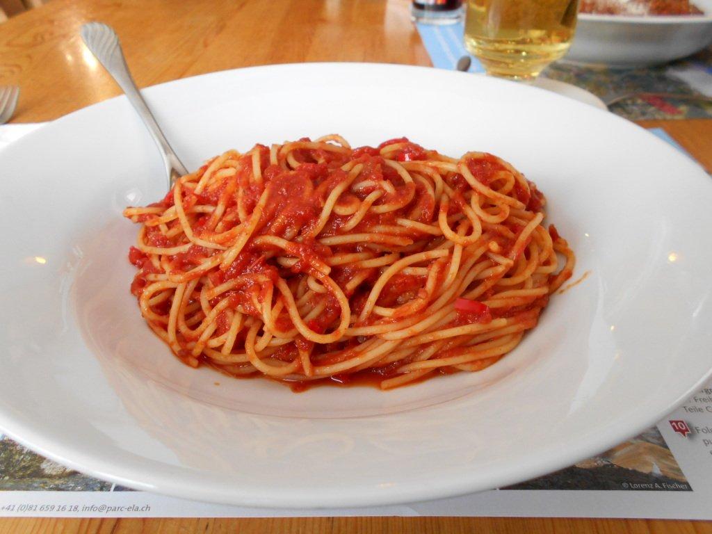Naturally vegan spagetti all'arrabbiata, Surava, Graubunden, Switzerland