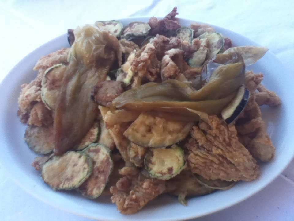 Fried vegetables at Michalis restaurant, Chania, Crete