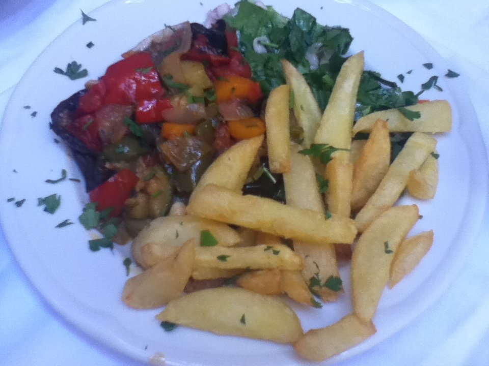 Vegan stuffed eggplant at To Steki Tavern, Chania, Crete