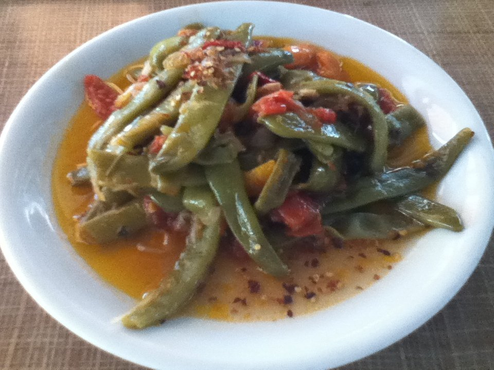 Vegan fasolakia (green beans) at a truck stop in Greece