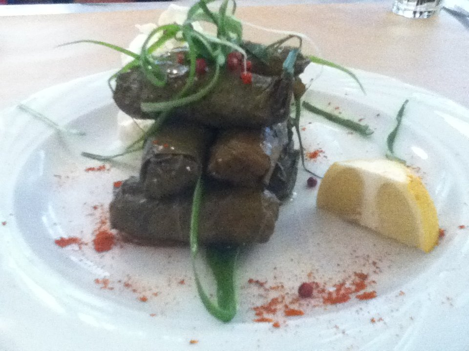 Dolmades at vegan-friendly Nea Folia restaurant in Thessaloniki, Greece
