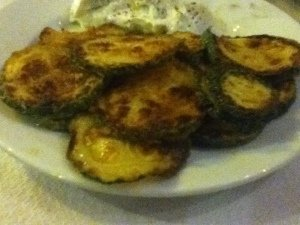 Fried zucchini at Taverna Paramithi