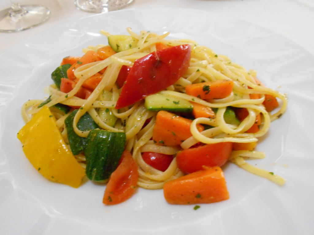 Vegan linguine with vegetables at Ristorante L'Opera in Venice, Italy