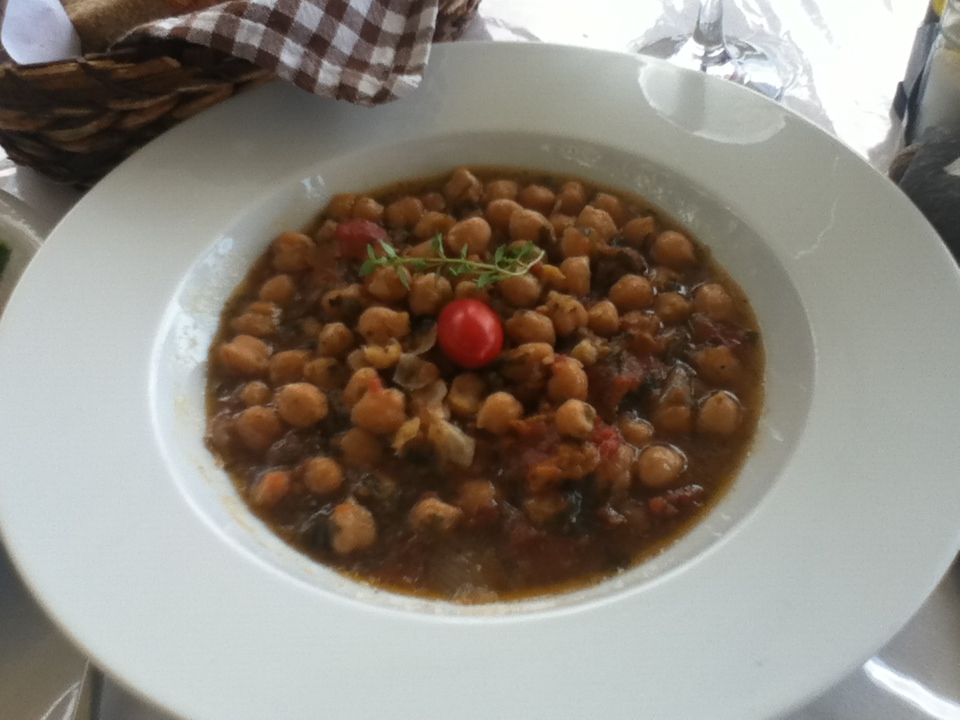 Vegan chickpea (garbanzo bean) dish in Agia Roumeli, Crete