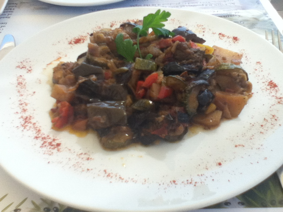 Briam at vegan-friendly Pelekanos restaurant, Oia, Santorini