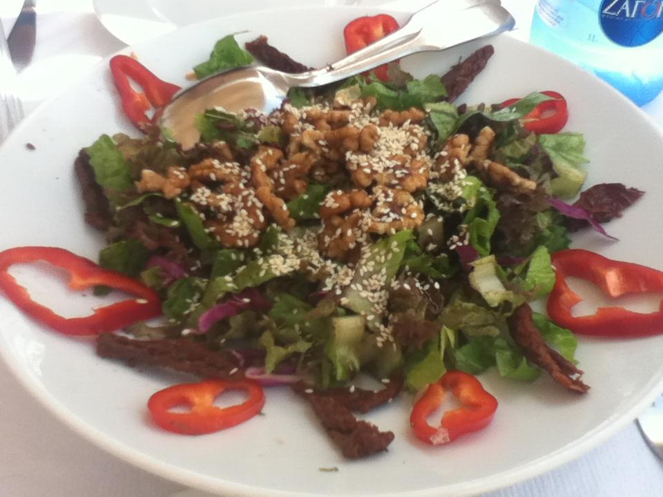 Salad at Skala restaurant in Oia, Santorini