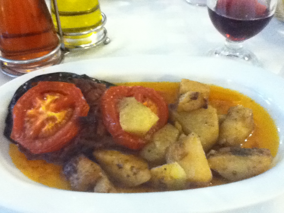 Imam (delicious baked eggplant dish) at Kostas Restaurant in Mykonos, Greece