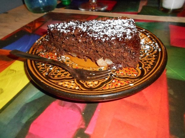 Vegan chocolate pear cake at Le Comari Inn, Siracusa, Sicily