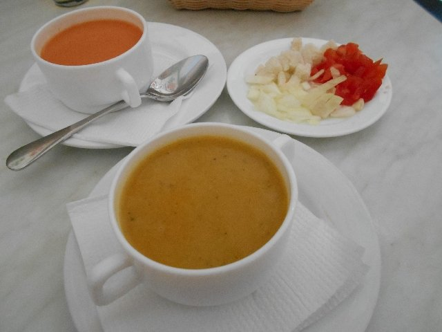 Gazpacho and crema de verduras