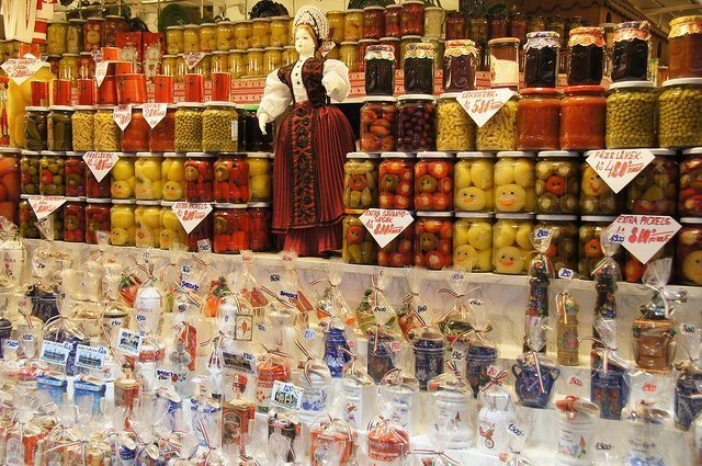 Pickled vegetables in a market in Budapest, Hungary