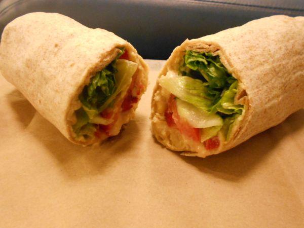Hummus wrap from Fresh Healthy Café - vegan food in the Atlanta airport