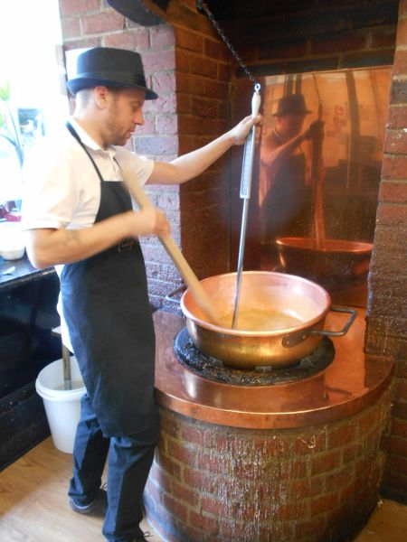 Making fudge at Fudge Kitchen - vegan places to eat in Cambridge, England