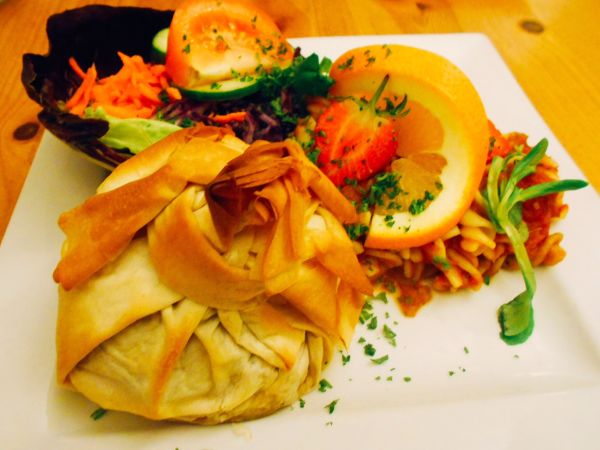 Vegan Artichoke Parcel at Rainbow Café in Cambridge, England