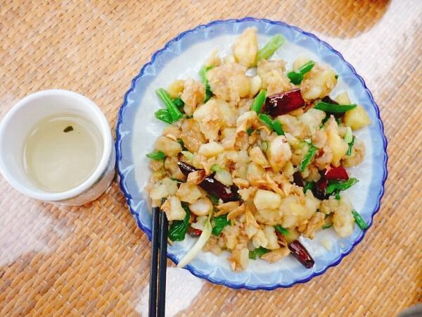 crushed potato, pomegranate flower, chilli and Yunnan pickles - Living The China Study