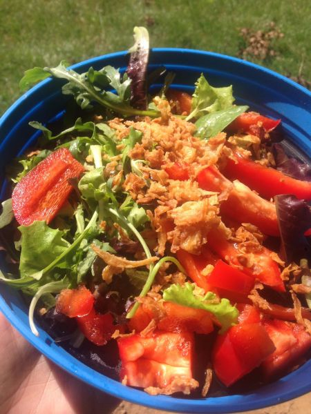 An improvised salad - how to be vegan anywhere