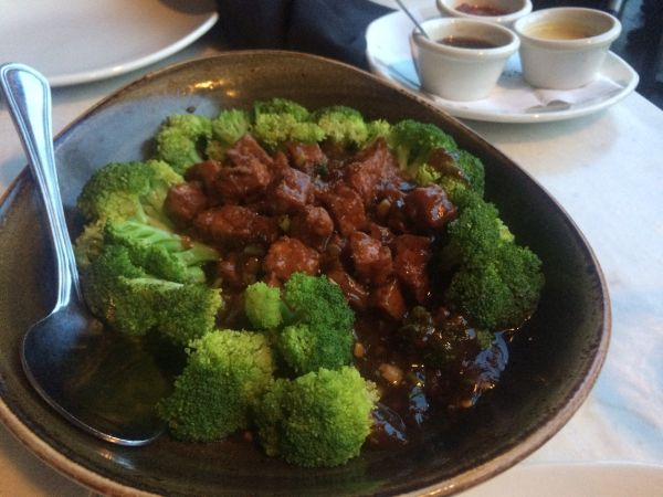 PF Changs spicy tofu and broccoli - Vegan in Panama