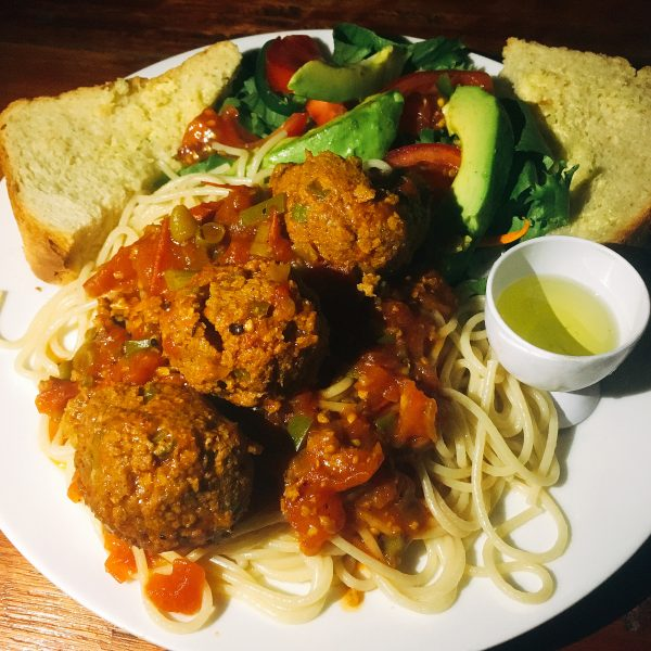 Vegan spaghetti and peace balls - Malawi food