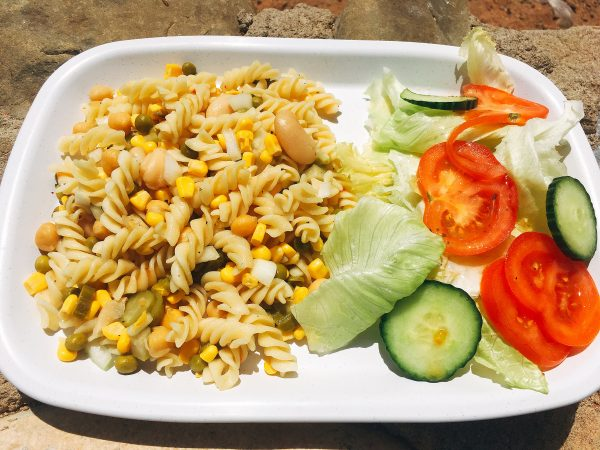 vegan pasta salad - tour of Namibia