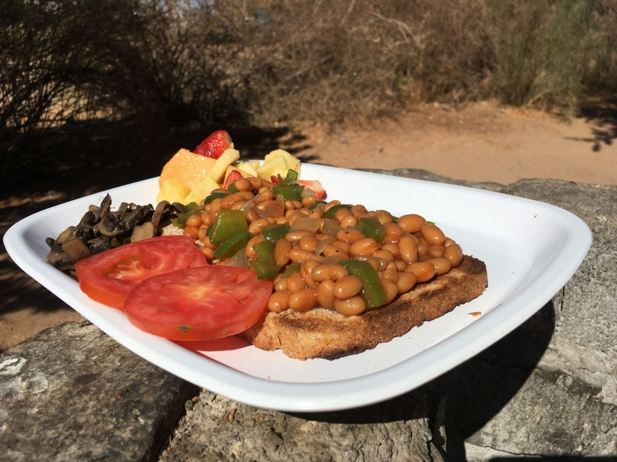 Vegan breakfast on safari in Namibia - vegan African food