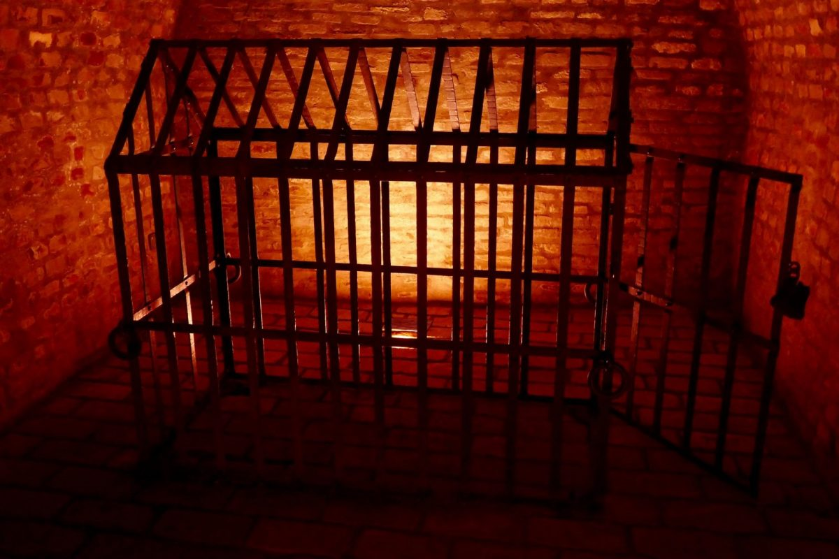 Madman's cage in labyrinth of cellars Brno
