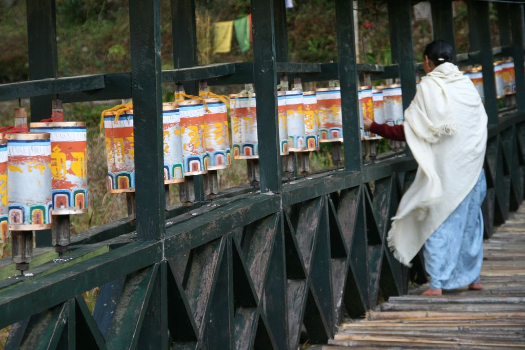 Buddhist prayer wheels in Sikkim India