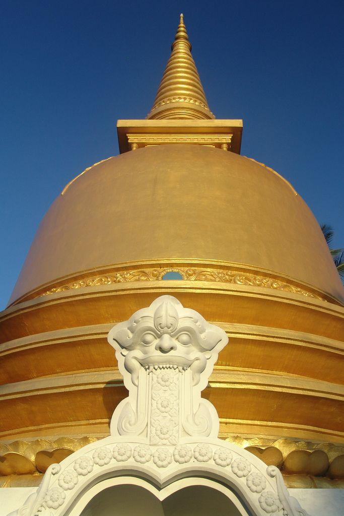 An early morning shot of a golden stupa at Dambulla, Sri Lanka.