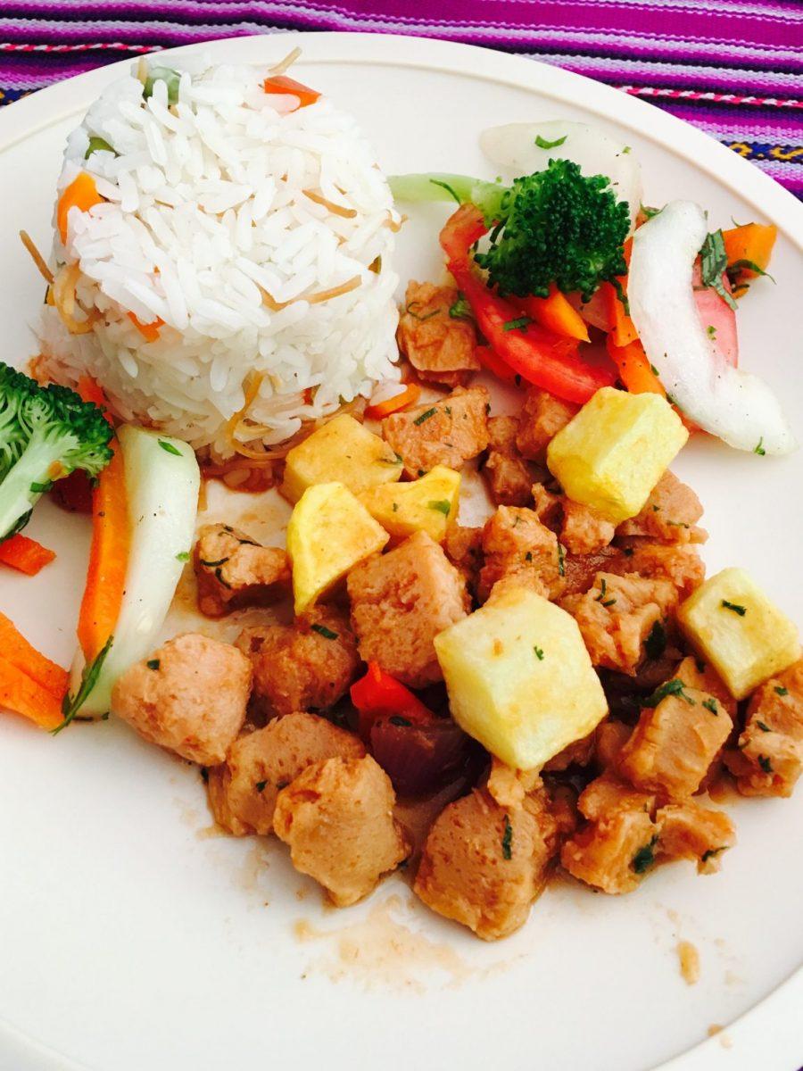 Soya Chunks with Rice and Vegetables - Vegan Machu Picchu Hike