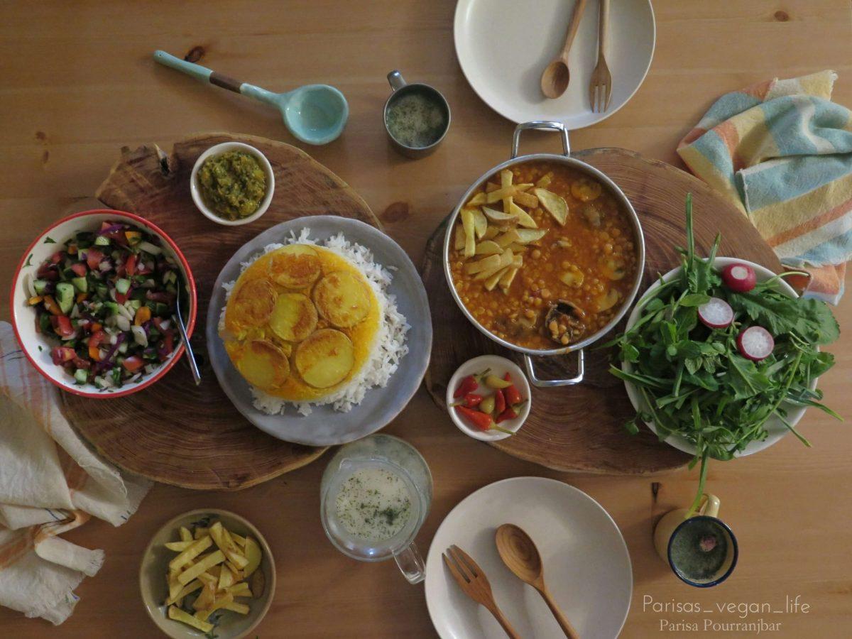 Khoresh gheimeh - vegan Iranian food