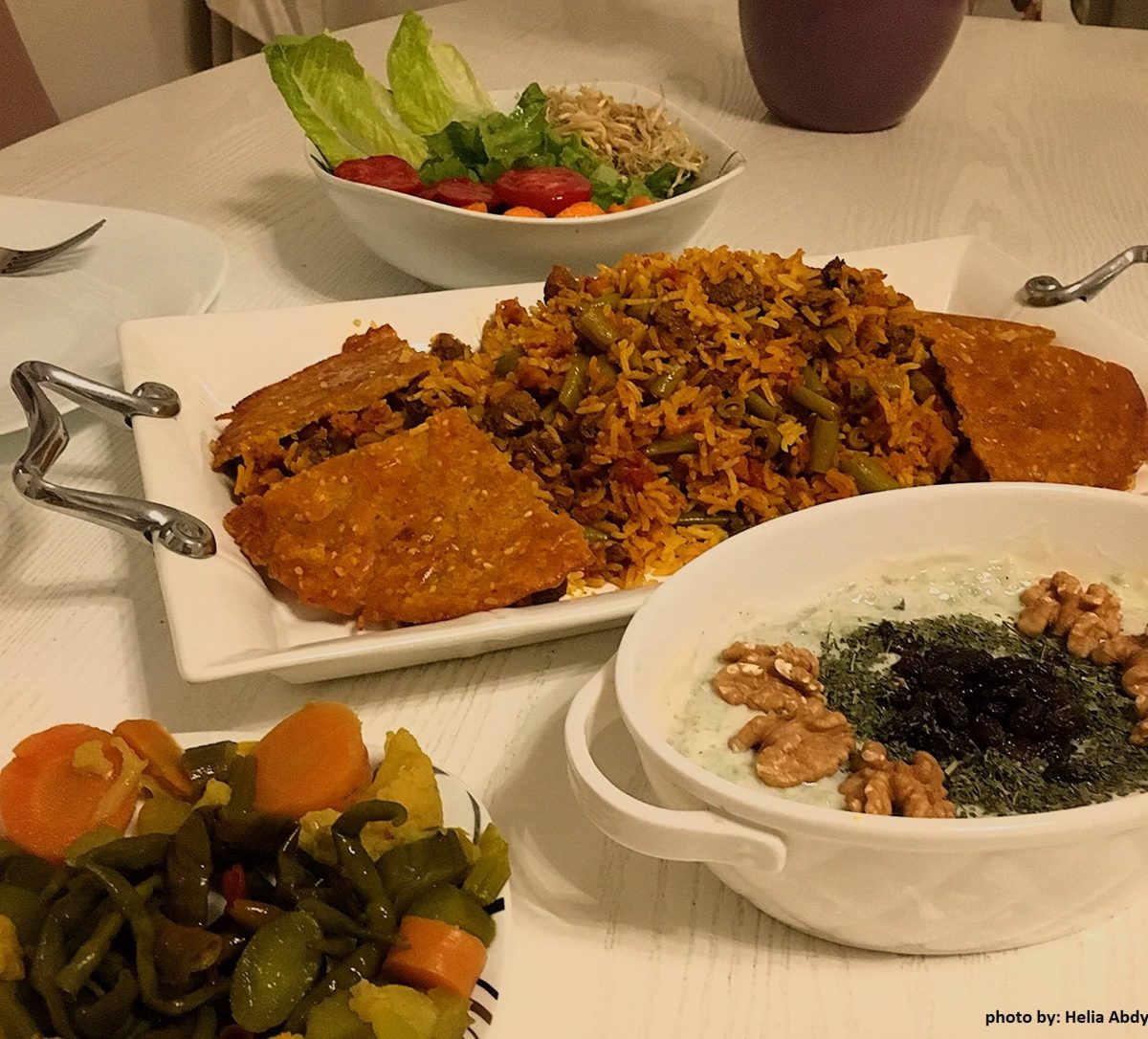 lubia polo with persian side dishes