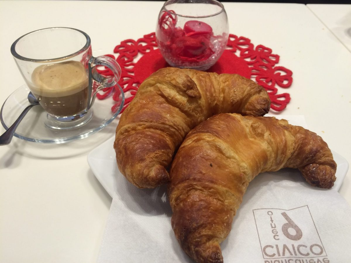 Vegan croissants and coffee - a typical vegan breakfast in Italy