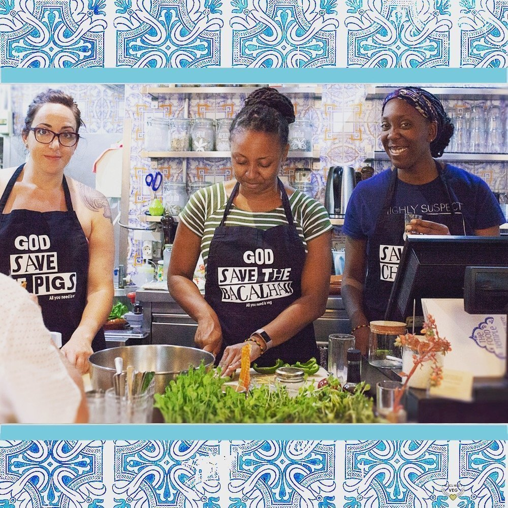 Our Lisbon vegan tour participants learning to cook vegan food Portugal style