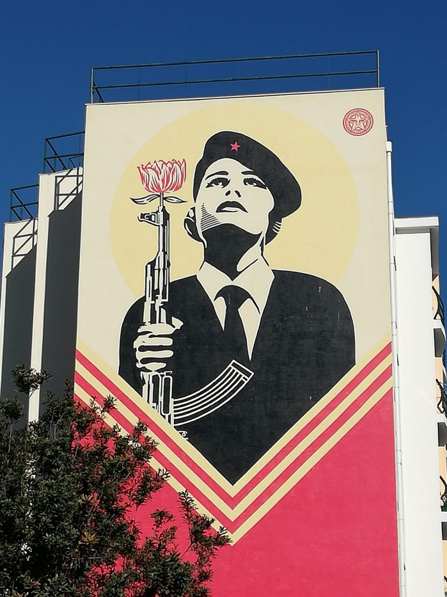 Street art celebrating the Carnation Revolution of 1974 in Lisbon