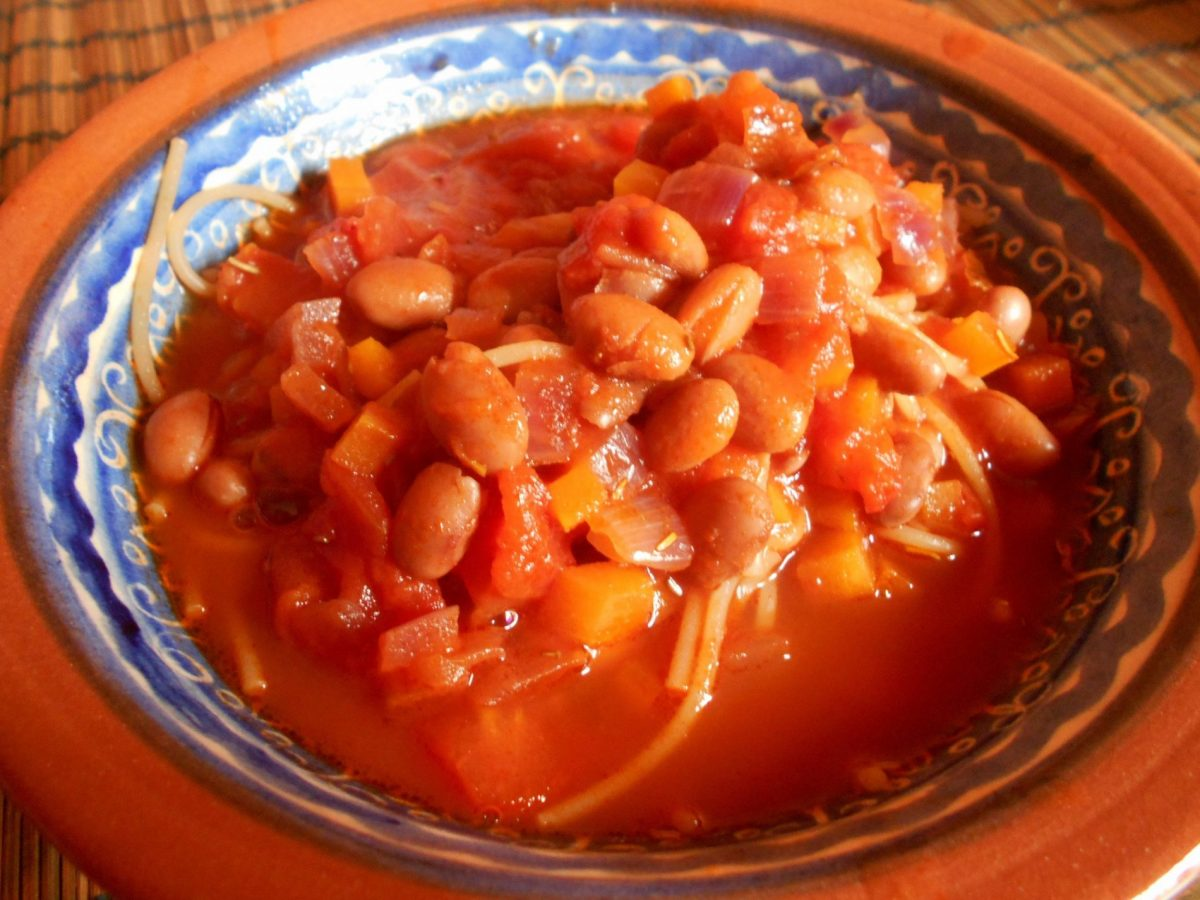Pasta e Fagioli - a common vegan primo piatto in Italy
