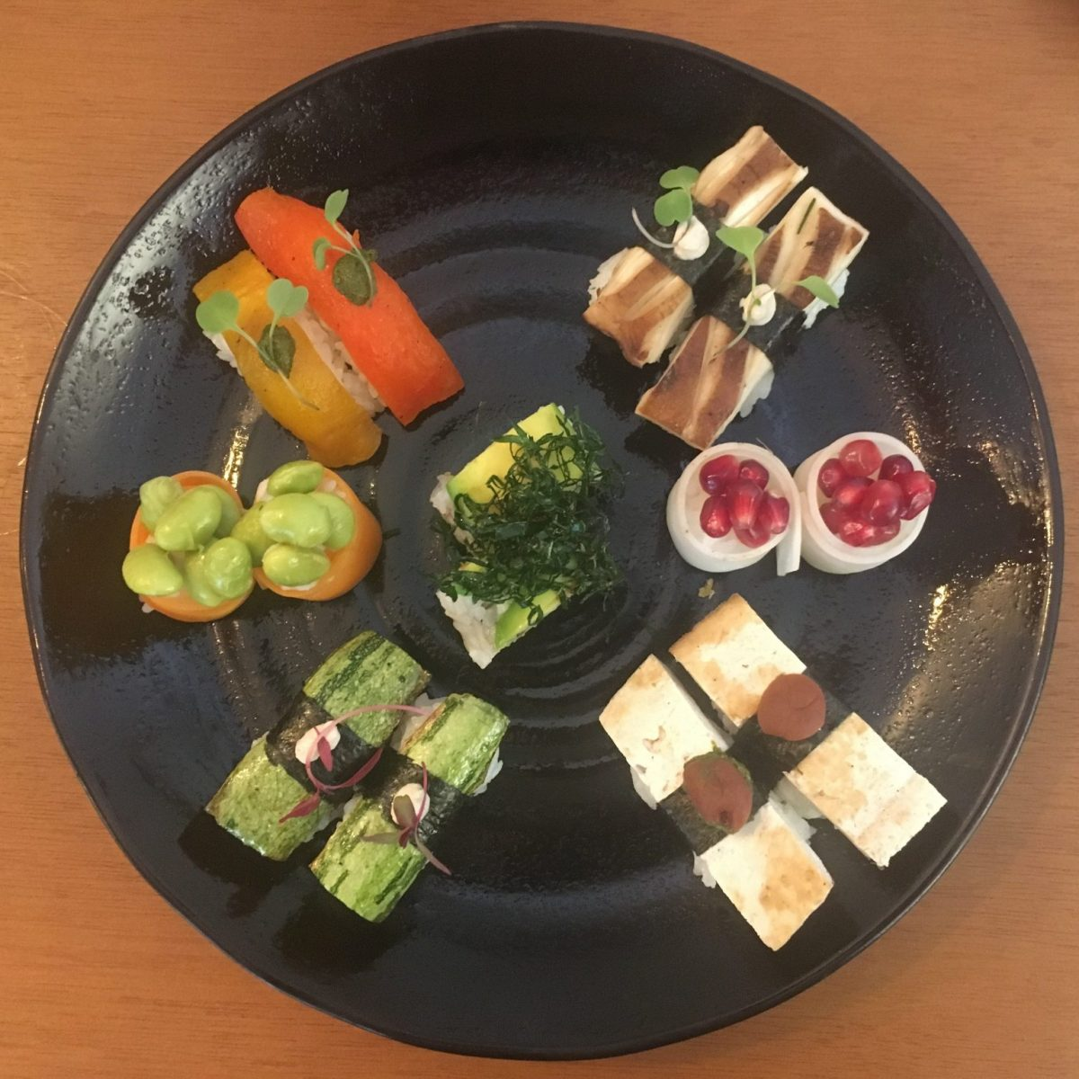 Vegan sushi platter at Sushi Mar Vegan Restaurant Sao Paulo