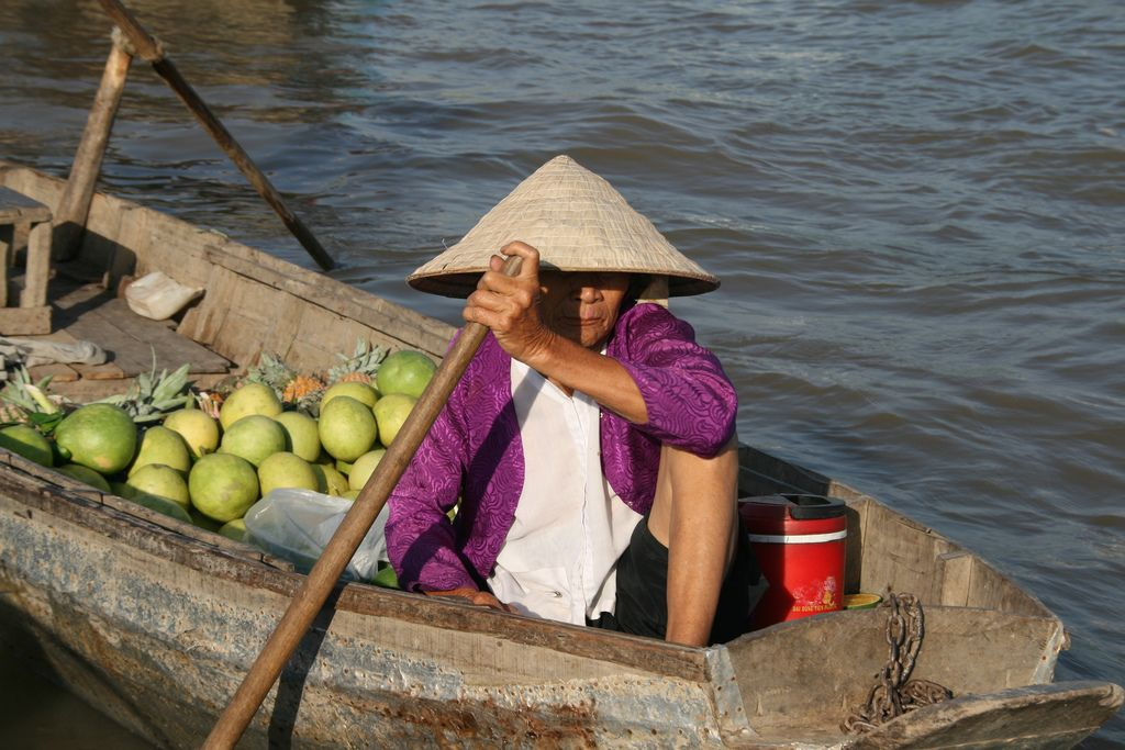 A woman rows her fruit boat at a floating market in the Mekong Delta, Vietnam