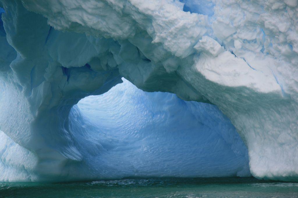 An iceberg tunnel in Iceberg Alley, Antarctica