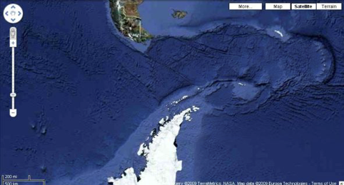 Antarctica Holidays - View of Antarctica on Google Earth