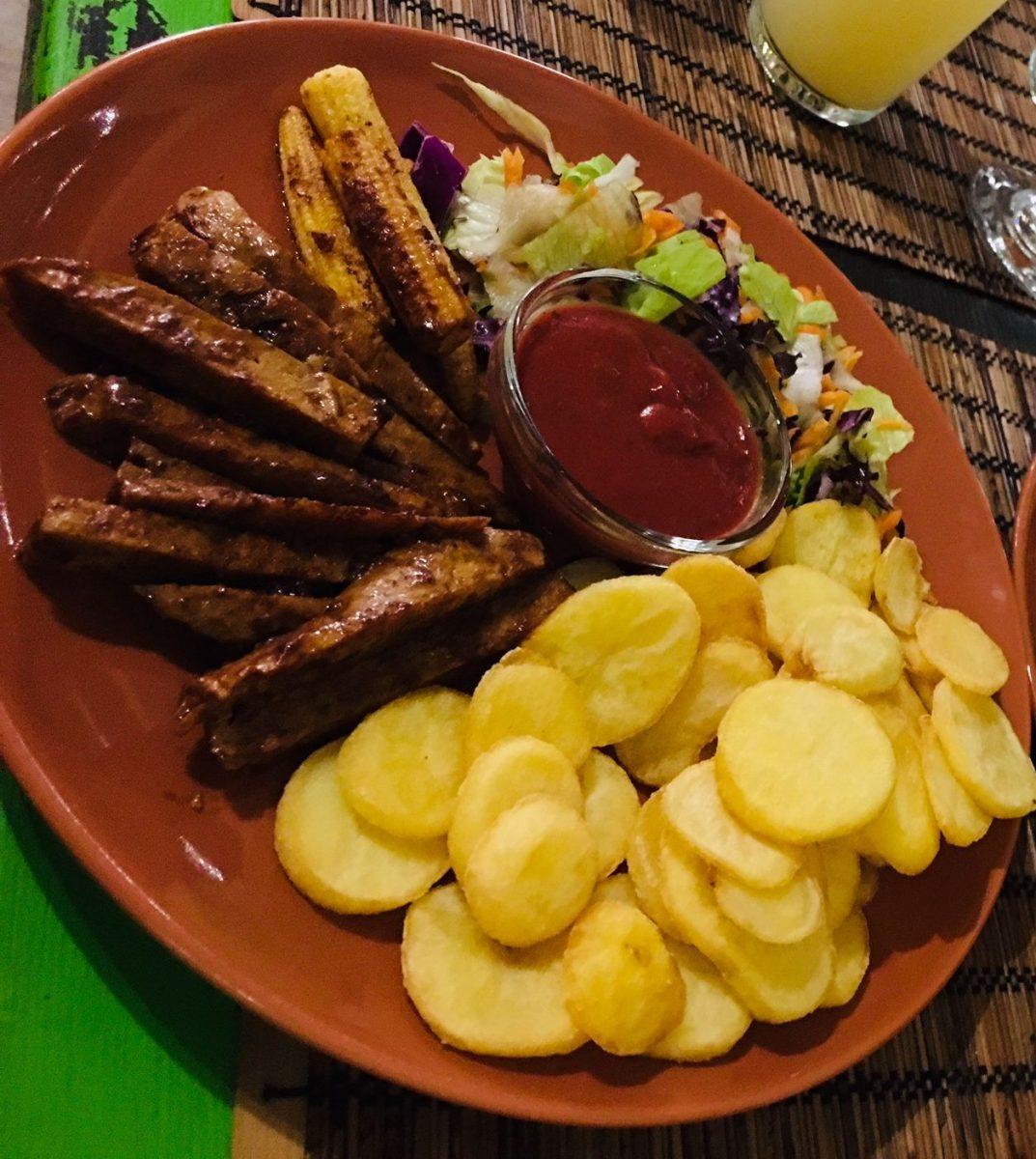 Barbeque seitan plate at Kozmosz vegan restaurant Budapest