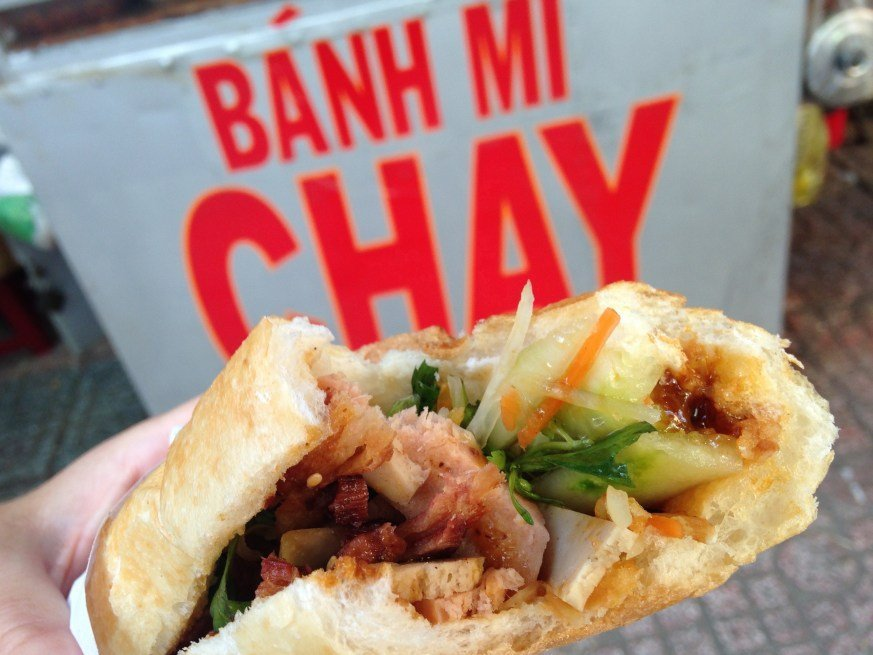 Bánh Mì is a delicious sandwiches sold at street carts all over Vietnam