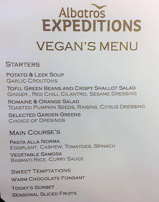 A special vegan menu prepared for the Vegan Antarctica group