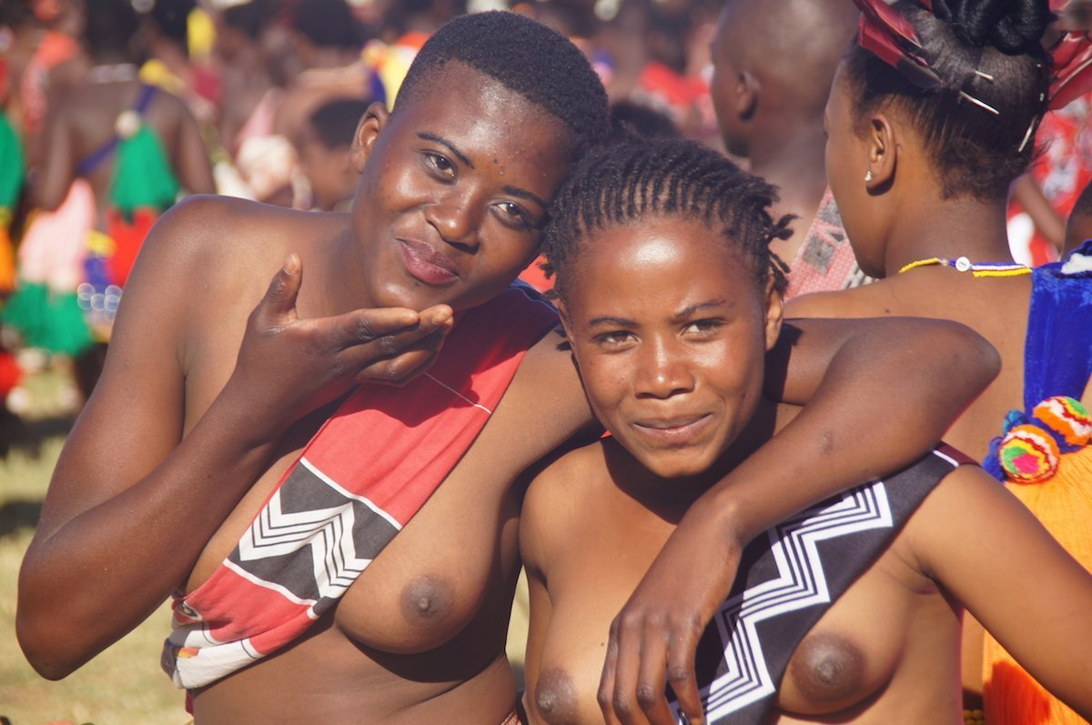 Swaziland girls hamming it up for the camera before the reed dance.