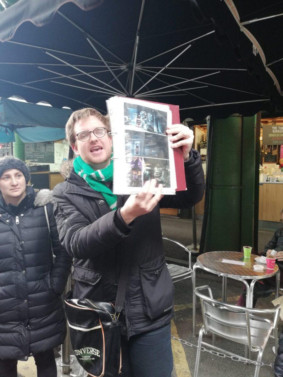 Tour guide Luke Lestrange leading a Harry Potter walking tour in London