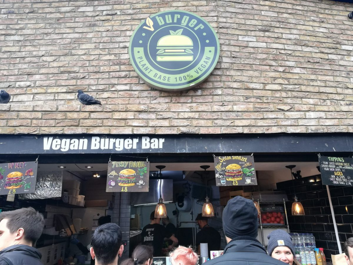 V Burger in Camden Market specializes in vegan burgers