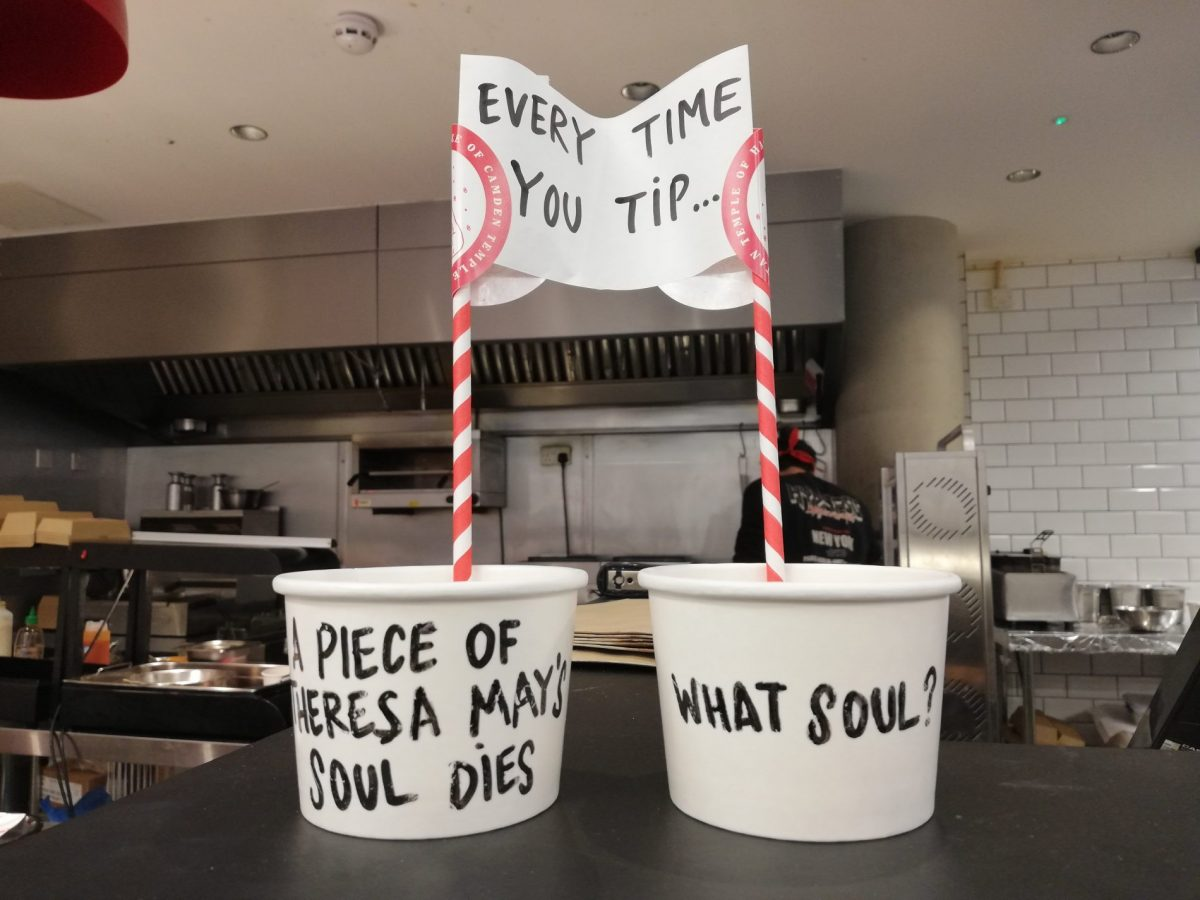 British humor - the tip jar at Temple of Seitan