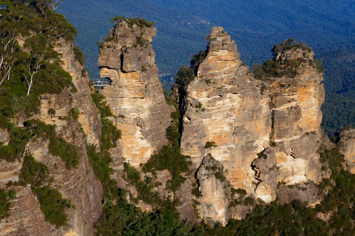 The iconic Three Sisters, seen from the Echo Point viewpoint near Katoomba in the Blue Mountains