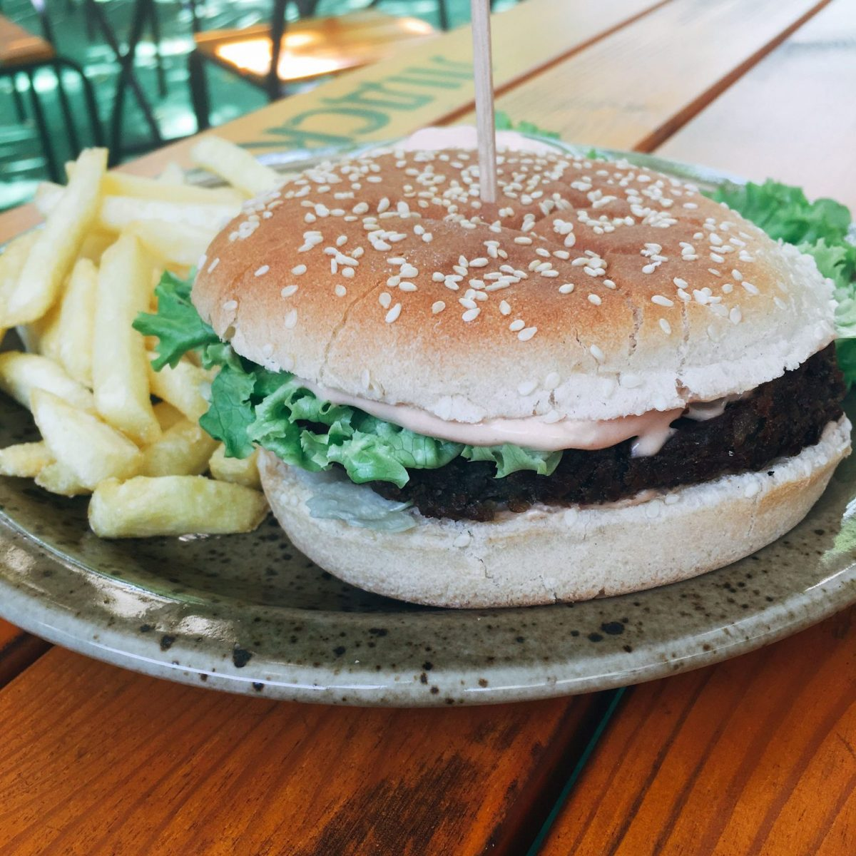 Vegan burger at Beetlejuice