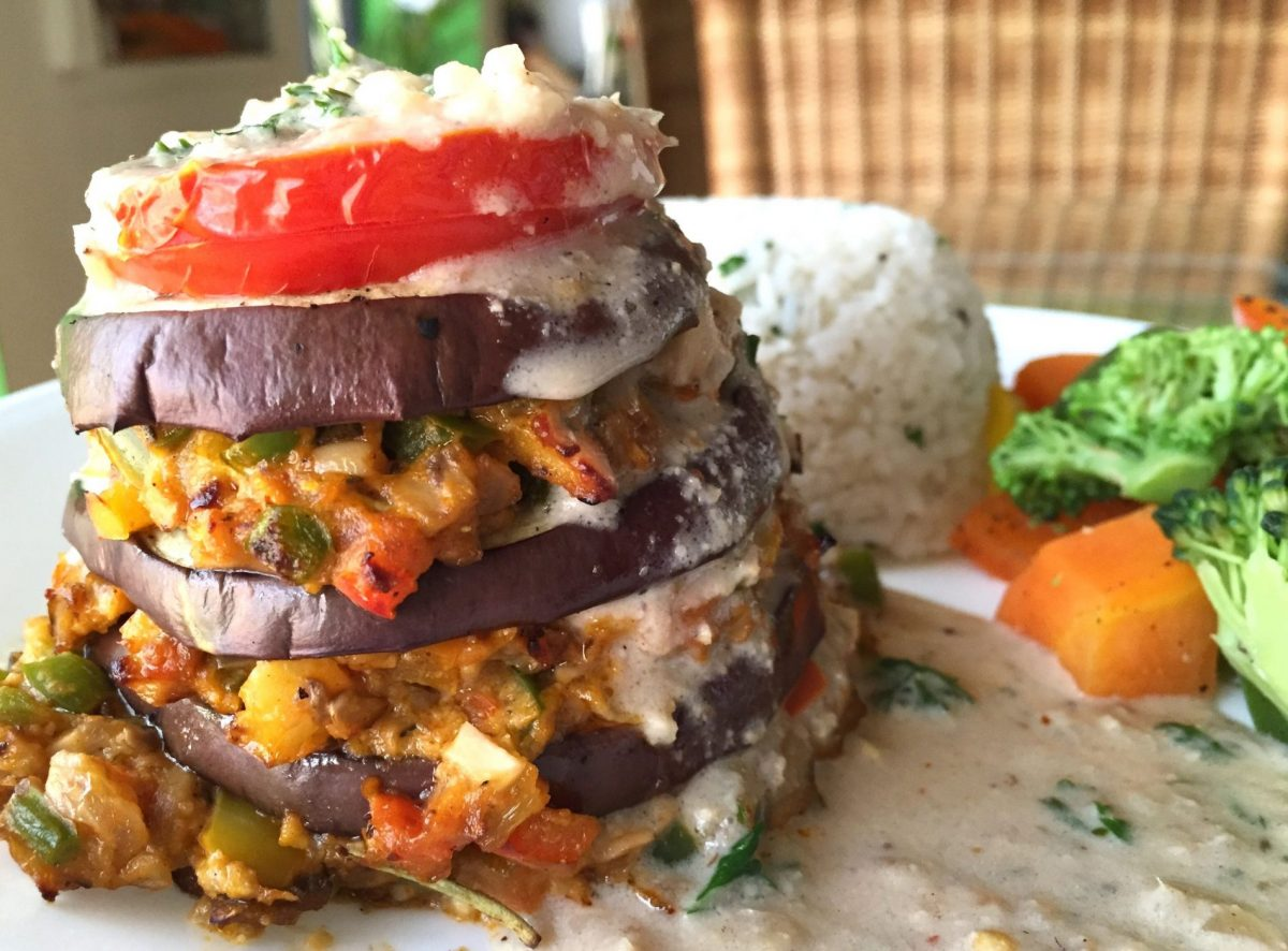 Carrots - baked aubergine mushroom platter